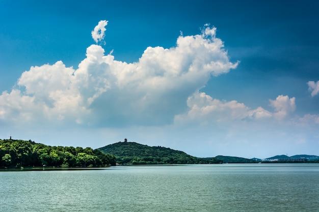 Letni krajobraz z jeziorem w słoneczny dzień