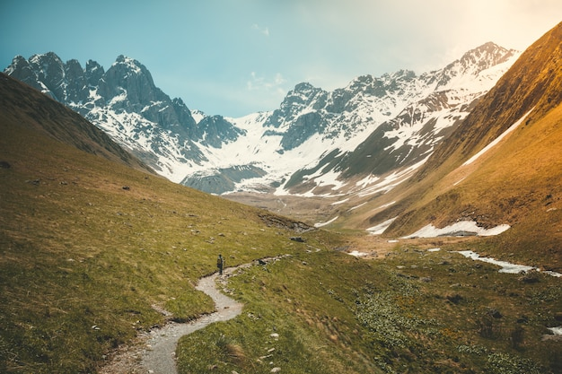 Letni krajobraz z rzeką i górski szczyt śniegu