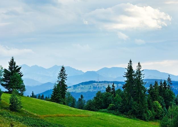 Letni mglisty wieczór na skraju wsi z pasmem tatr