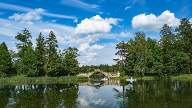 Letni panoramiczny krajobraz nad jeziorem. niesamowity krajobraz letniego jeziora. cudowne jezioro z odbiciem drzew. białe chmury na niebieskim niebie.