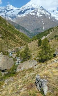 Letni widok na alpy z płaskowyżu z jodłami na zboczu