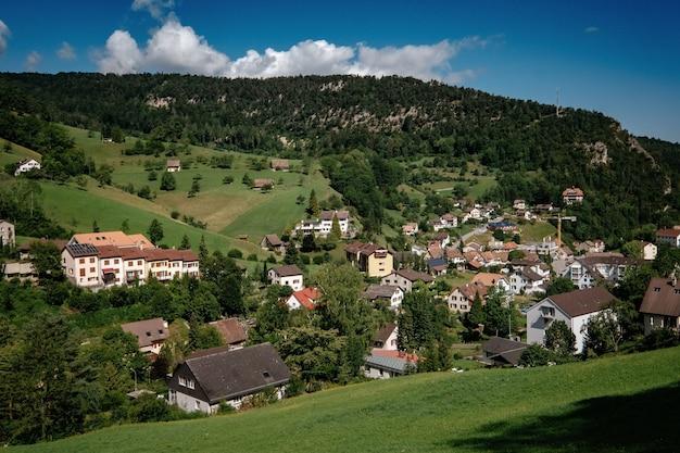 Letni widok na piękną wioskę apline w szwajcarii. zielone pole, chodnik z drewnianym ogrodzeniem w wiosce szwajcaria.