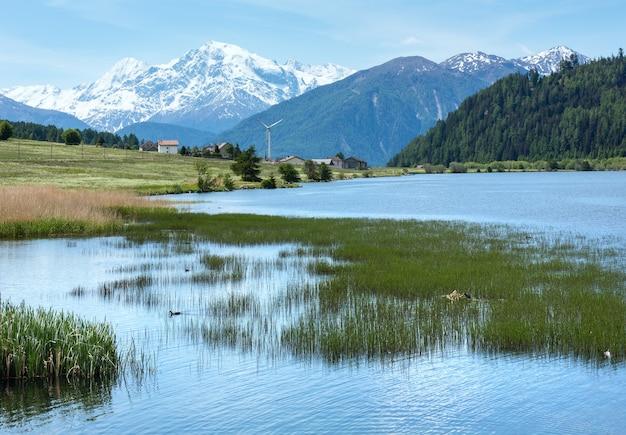 Letni widok na reschensee z kwitnącą alpejską łąką mniszka lekarskiego (włochy)