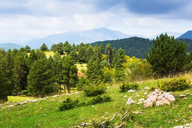 Letni widok pirenejów
