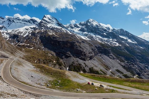 Letni widok z drogi alpejskiej stelvio pass z lasem jodłowym i śniegiem na szczytach alp, włochy.