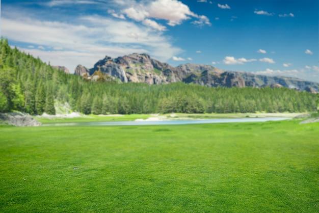 Letnia dzika niesamowita przyroda, zielona łąka, jezioro i góry na zachmurzonym niebie, nikt