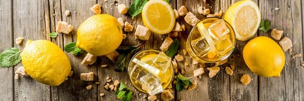Letnia herbata z lemoniadą lub mrożoną