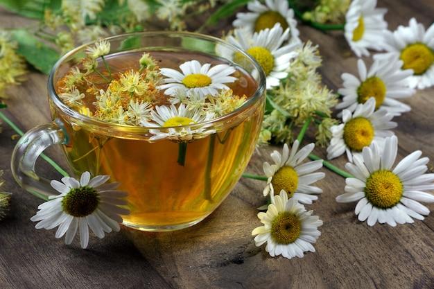 Letnia herbata ziołowa. herbata z lipy i rumianku na drewnianym stole.