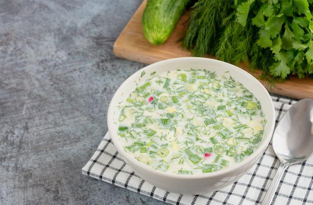 Letnia rosyjska okroshka z ogórków, mięsa, rzodkiewki, ziół i jajek z jogurtem lub kefirem w kubku do zupy