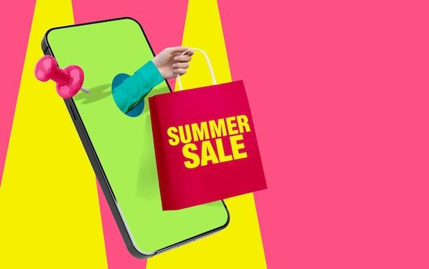 Letnia wyprzedaż zakupy online koncepcja