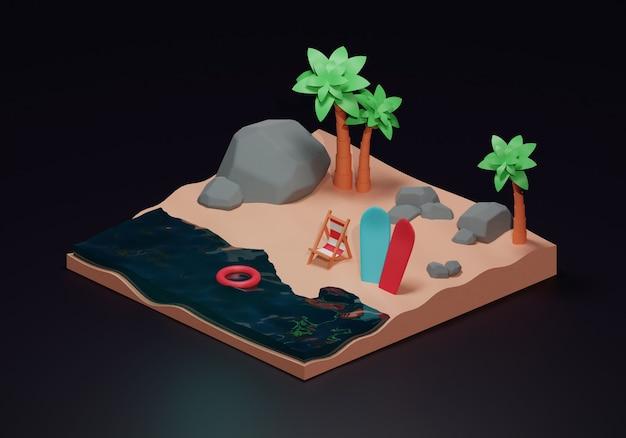 Letnia wyspa w stylu izometrycznym