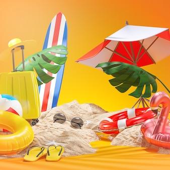 Letnie akcesoria plażowe żółte tło renderowanie 3d