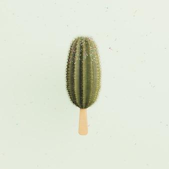 Letnie lody kaktusowe z opadającym kolorowym konfetti. minimalistyczna scena. renderowania 3d