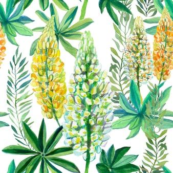 Letnie łubinowe białe i żółte kwiaty z zielonymi liśćmi.