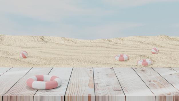 Letnie wakacje powierzchnia z drewnianą podłogą nadmuchiwaną piłką plażową i piaskiem