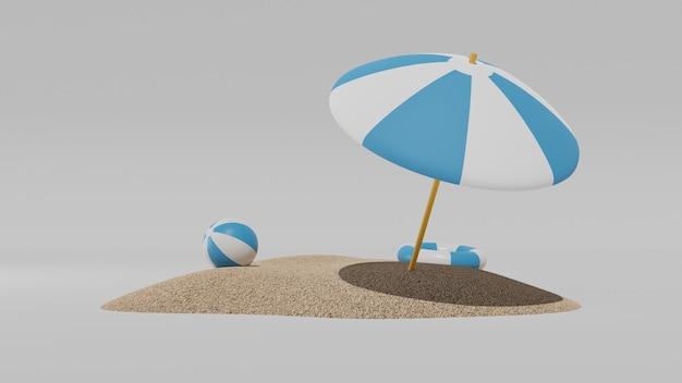 Letnie wakacje powierzchnia z nadmuchiwanym parasolem plażowym i piaskiem