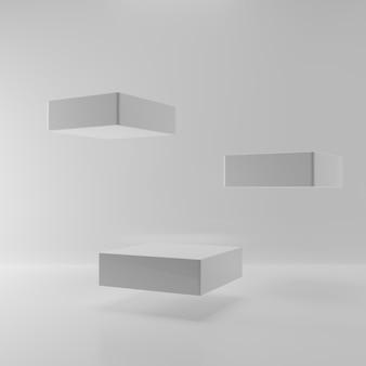 Lewitacja unosi się kwadratową scenę na białym tle. streszczenie trzech cokołów w pustym pokoju do prezentacji reklamy produktu. szablon makieta wnętrza podium. renderowanie ilustracji 3d