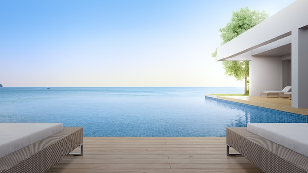 Leżak na tarasie przy basenie
