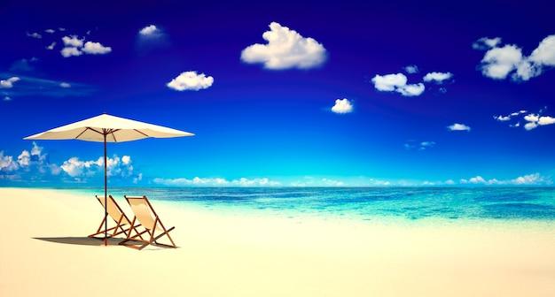 Leżaki na tropikalnej plaży