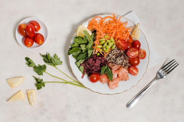 Leżał płasko talerz zdrowej żywności