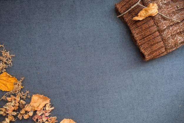 Leżała jesień zima. brązowa dzianinowa czapka i suche liście na niebiesko