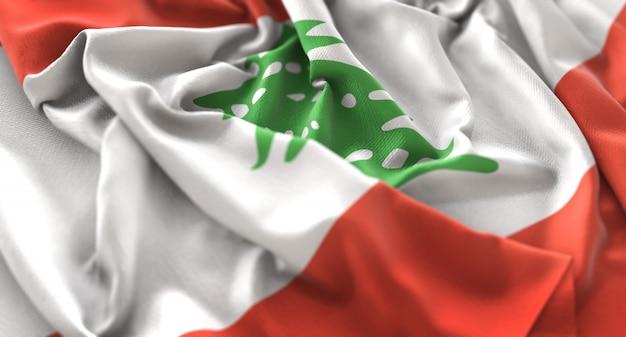 Liban flag ruffled pięknie macha makro close-up shot