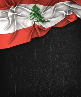 Liban flag vintage na chalkboard grunge czarna z miejsca na tekst