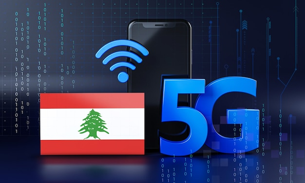 Liban gotowy na koncepcję połączenia 5g. renderowania 3d technologia smartphone tło