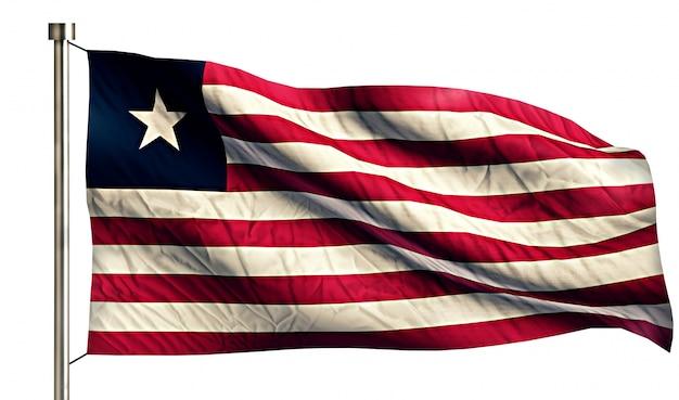Liberia flaga narodowa pojedyncze 3d białe tło