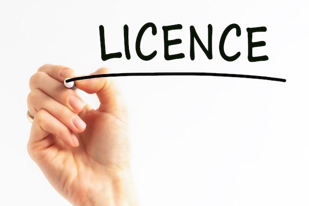 Licencja na pisanie odręczne z czarnym markerem, koncepcja, obraz pień