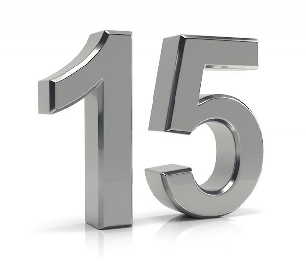 Liczba 15 wyizolowanych na białym tle