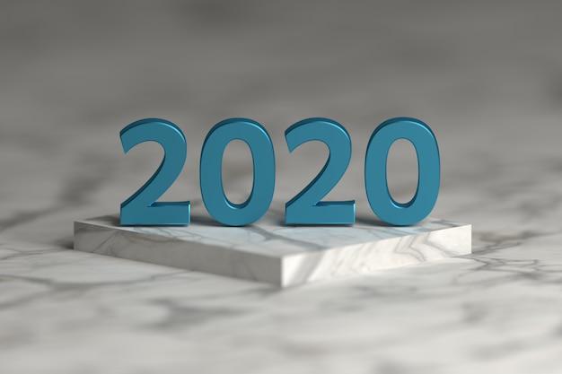 Liczba 2020 roku w błyszczącej metalicznej niebieskiej teksturze na podium cokołu wykonanego z marmuru. szczęśliwego nowego roku kartkę z życzeniami.