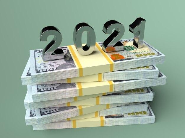 Liczba nowego roku 2021 w dolarach pieniężnych