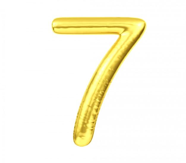 Liczebnik 7, złoty balon liczba siedem odizolowywający na białym tle, 3d rendering