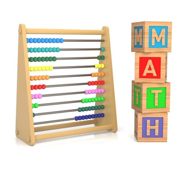 Liczydło i klocki alfabetu dla dzieci reprezentujące przedmiot uczenia się matematyki.