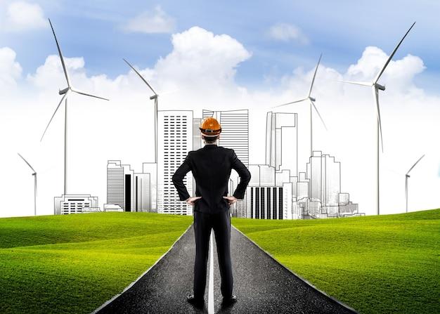 Lider biznesmen z wizją budowania przyszłego miasta ekologicznego.