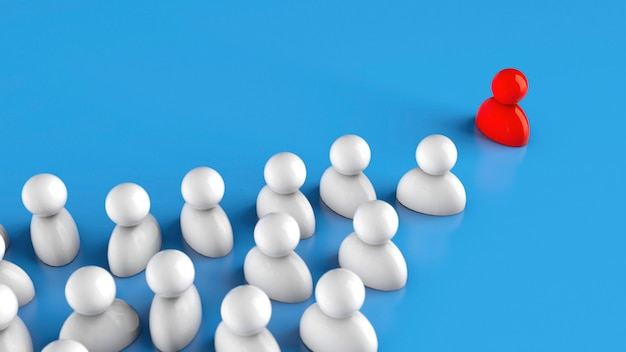 Lider w firmie. drużyna podąża za czerwonym liderem. renderowania 3d.