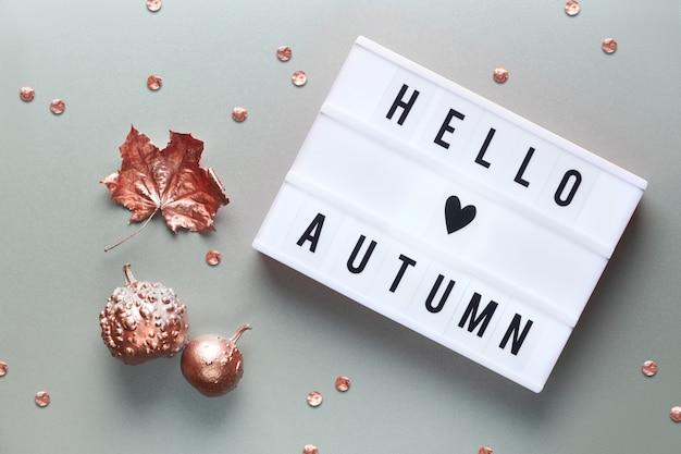 Lightbox z tekstem witaj jesień i znak serca