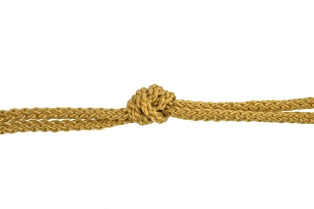Lina sznurka lub lina jutowa z węzłem na białym tle