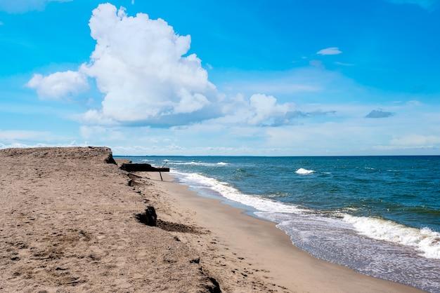Linia brzegowa rozciągająca się w oddali, błękitne morze, piaszczysta plaża i fale