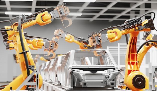 Linia do produkcji samochodów wykorzystująca roboty do pracy w inteligentnych fabrykach. ilustracja 3d