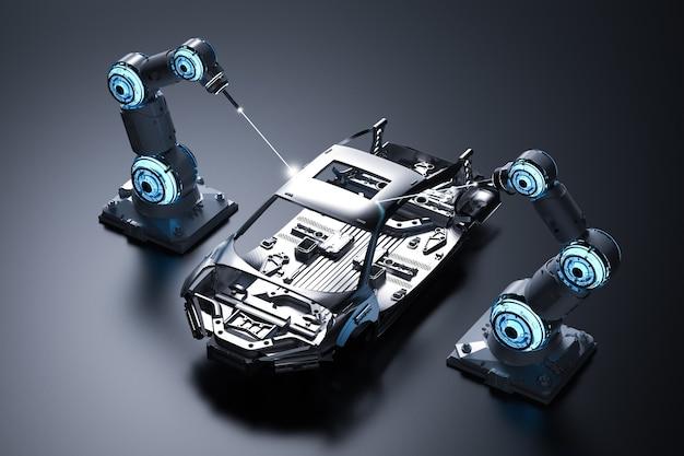 Linia montażowa robotów renderujących 3d w fabryce samochodów na czarnym tle