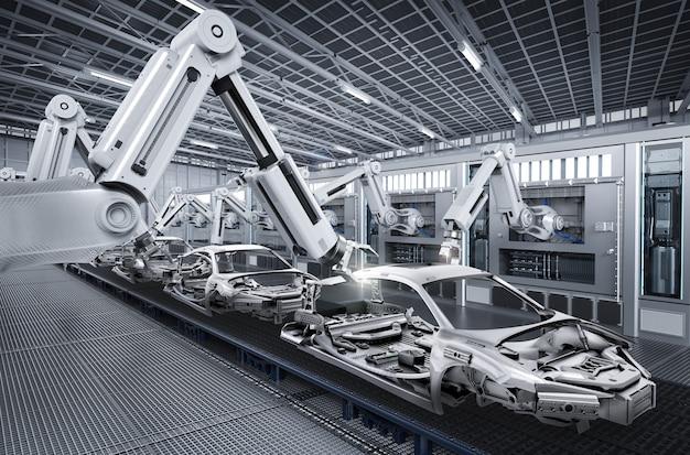Linia montażowa robotów renderujących 3d w fabryce samochodów