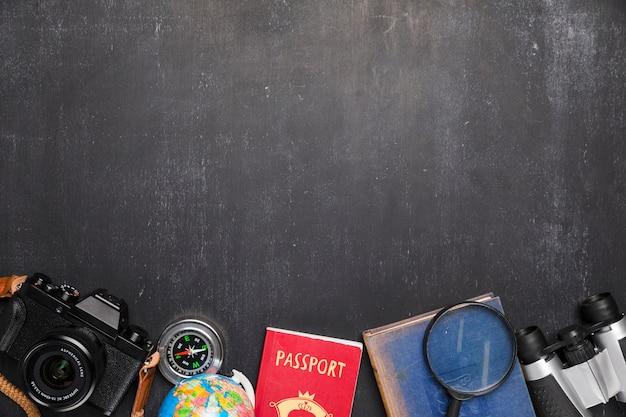 Linia podróży elementy na blackboard