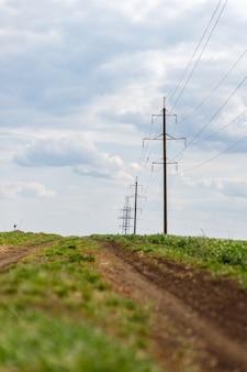 Linie elektroenergetyczne wysokiego napięcia w terenie