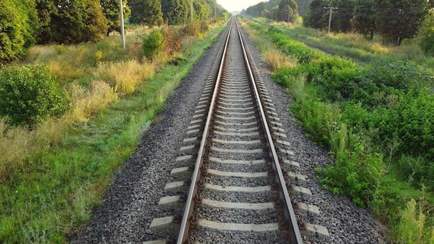Linie kolejowe przez las i przyrodę.