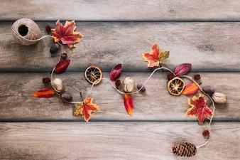 Linowy ślad z jesień elementami