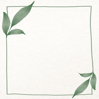 Liść kwadratowa ramka w akwareli zielonej