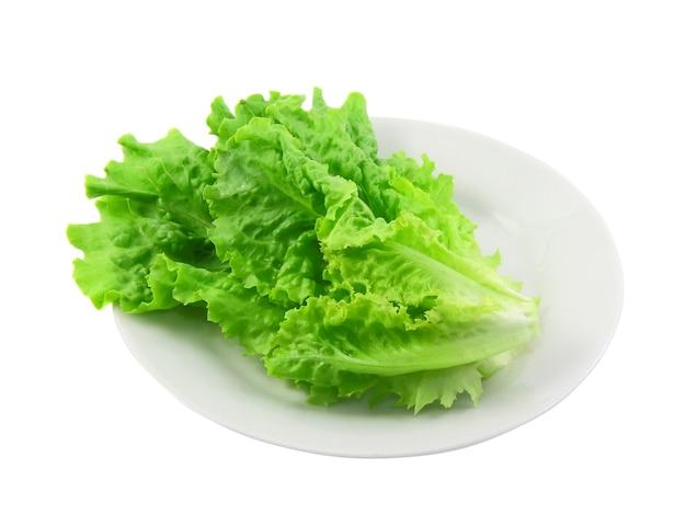Liść sałaty na białym tle. pojedynczo na białym
