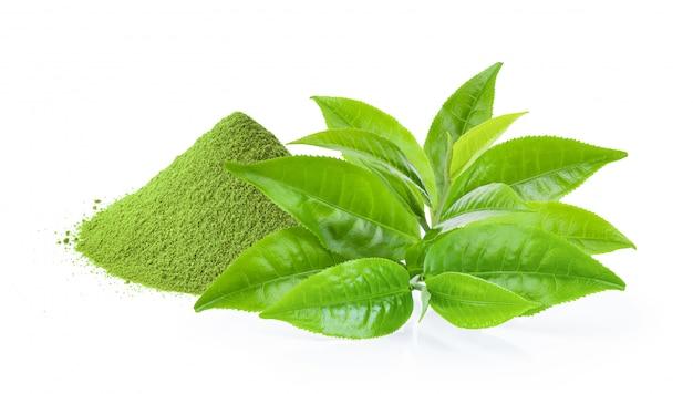Liść zielonej herbaty i matcha zielona herbata pudrujemy na bielu